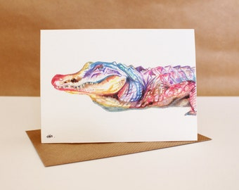 Watercolour Alligator Card ~ watercolour greetings card, watercolour card, alligator greetings card, birthday card, alligator art
