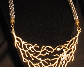 Gold Seascape Necklace with Crystal Starfish