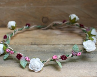 Floral white and pink bridal hair piece, head band garland with twine.