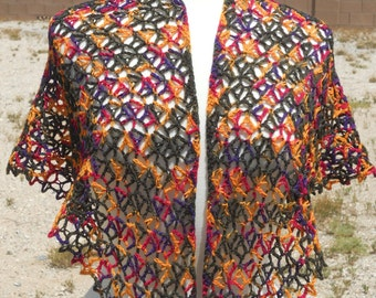 Dark Green, Yellow-Orange, Purple and Magenta Variegated Merino Wool Triangular Crocheted Shawl