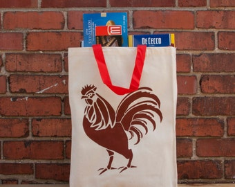 Canvas Bag, Red Rooster Tall Reusable Grocery Bag,