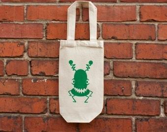 Wine Bag, Canvas Green Monster Bag, Eco Friendly Bag