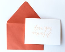 hand-stamped calligraphy note cards // love you. mean it. 3 card set