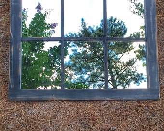 Rustic Mirror Distressed Faux Window Vintage Green