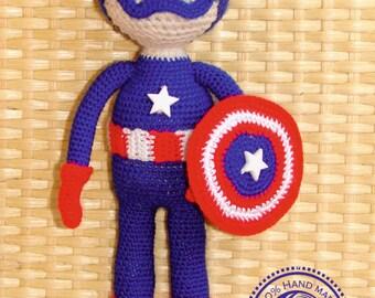 Captain America doll crochet Boys Rag Doll super buddy doll superhero gift for boy Avengers amigurumi boys doll Marvel steve rogers comics