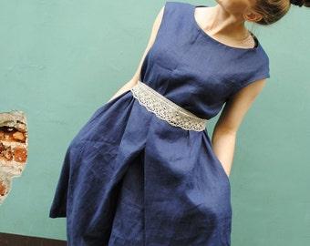 Linen dress woman, blue linen dress, linen summer dress, linen midi dress, casual linen dress, sleeveless dress linen