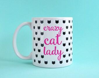 Crazy cat lady mug, 11oz coffee mug, gift for cat lovers, cat shape mug, kitty mug, funny mug