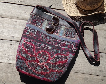 Bohemian Bag Vintage Hmong Baby Carrier and Leather