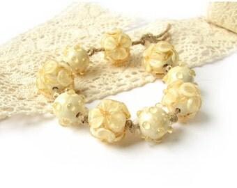 Lampwork Beads, Handmade Lampwork Glass Bead Set, Murano Glass, Floral Glass Beads, Ivory Beads, Wedding, Lampwork Flowers
