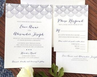 Wedding Invitation, Dotted Scallop Wedding Invitation, Modern Wedding Invitations, Wedding Invites - Invitation Sample Kit