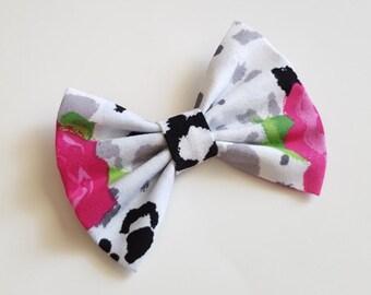Fabric bow - fabric hair bow- hair clip - pink roses hair bow - teen - newborn headband - toddler headband - baby headband - infant headband