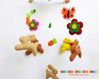 Baby Mobile Rabbit -  Rabbit Baby Mobile - Baby nursery- Baby Room Decorate
