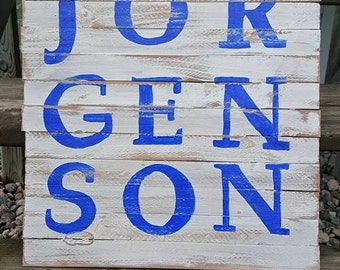 Bold Last Name. Painted Wood Sign. Wall Decor. Last Name. Indoor/Outdoor Sign.