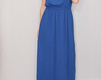 Cobalt blue dress Long bridesmaid dress Chiffon dress Prom dress