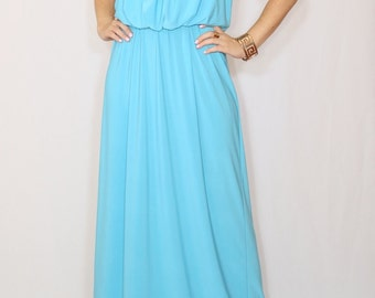 Aqua blue dress Maxi dress Bridesmaid dress Long summer dress
