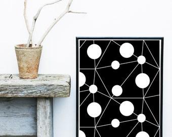 Black And white Art, Abstract Art Print, Printable Art, Geometric Art Print, Scandinavian Art,   Wall Decor, Wall Art, Digital Download