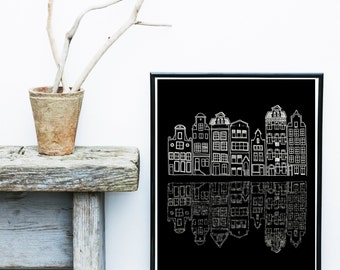 Scandinavian Art, Printable Art, Scandinavian Houses, Skyline, City skyline, Wall Decor, Wall Art, Instant Download