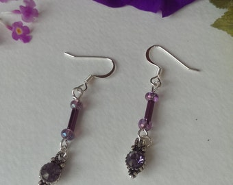 Silver Dangle crystal earrings
