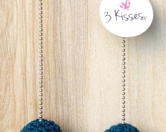 Crochet Blue and Black necklace