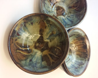 Tie-Dyed Soup, Salad, or Cereal Bowls - blue, brown, and gold ceramic / pottery - Set of 4