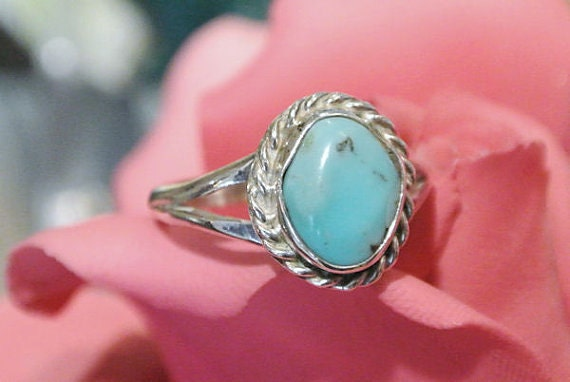 Turquoise Ring Dry Creek Sacred Buffalo Sterling Silver Ring Southwestern Native American 1970s Ring Artisan Hand Crafted Vintage Jewelry