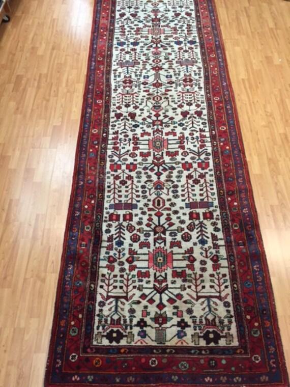 """4' x 12'2"""" Persian Heriz Runner Oriental Rug - 1970s - Hand Made - 100% Wool - Vintage"""
