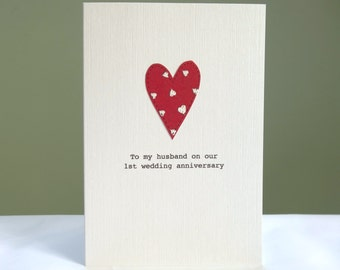 1st Anniversary Card - personalised anniversary card - red heart paper anniversary - husband boyfriend wife girlfriend - free uk delivery