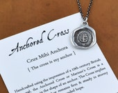 Anchored Cross Necklace - from Antique wax seal with Latin Motto - Anchor Necklace - Christian Anchor Jewelry - 225