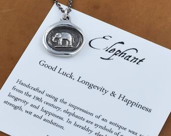 Elephant Wax Seal Necklace - Elephant jewelry good luck necklace - Strength Jewelry - 294