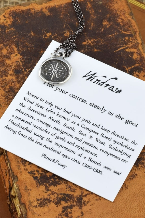 Windrose Compass Wax Seal Pendant from Post Medieval Wax Seal Compass Rose Necklace North Star - 112