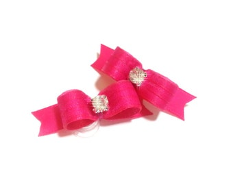 Puppy Dog Bows Fuchsia Satin Rhinestone