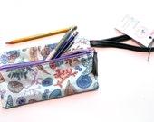Back to school, pencil pouch, upcycled bag, ocean themed, bike inner tube, spring celebrations, summer bag, cute bag, sea bag,  #234