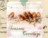 Christmas Gift Tags , Bird Tags , Seasons Greetings , Sheet Music , Vintage Style , Holly , Winter Birds , Vintage Birds , Bluebirdlane