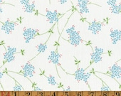 Vintage Feedsack Fabric - Blue Forget Me Nots - Flour Sack/Feedsack Quilting Cotton 1940s 1930s