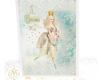 Fairy Christmas card, make a wish, in blue and white, romantic sugar plum fairy magic holiday greeting