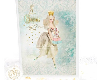 Fairy Christmas card, make a wish, romantic, sugar plum fairy, magic, holiday card, blank inside