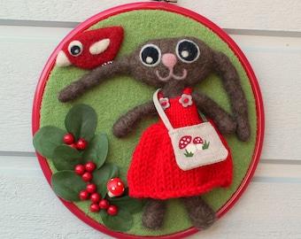 Wall hanging embroidery hoop felted wool fiber art needle felted Bella the bunny bird birdie mushroom berries