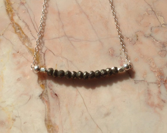 Sterling and Pyrite Bar Necklace
