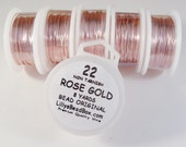 Rose Gold Plated Wire, 22 Gauge Wire, Round, Half Hard Wire for Wrapping Stones, Gemstone Supplies, Soft Wire, Non Tarnish