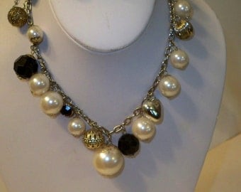 Black & White Choker, Pearl Choker Necklace Set with Filigree Earrings, Acrylic Pearls, Black Beads, Gold Filigree Beads on Gold Chain