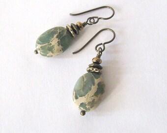 Impression Jasper Aqua Terra Stone Earrings, Bronze Niobium Hooks, Rustic Sage Green and Tan