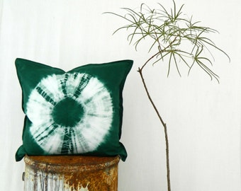 FOREST DWELLER . tie dye cushion cover . pillow . throw cushion . decorative pillow . throw pillow . emerald green boho gypsy hippie tribal