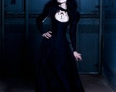 "Evil Queen Dress - Gothic Bridal Gown - Long Corset Dress -  ""Black Dragon Gown "" Halloween Wedding Vampire Dress - Custom to Order"