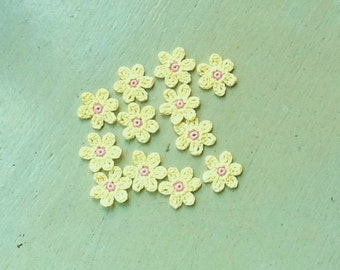 Crochet Flowers Appliques 117.20 --- 12 pcs --- Tiny Size flowers in Yellow Petals with Centre in Pink