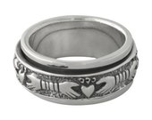Claddagh Celtic Spinner Sterling Silver Ring