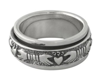 Claddagh Celtic Spinner Sterling Silver Ring Size 8