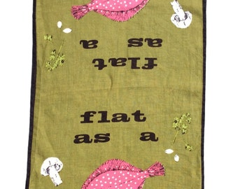 Vintage Towel Mid Century Modern Flat as a Fish Signed