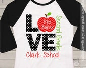 Teacher shirt - love school personalized raglan shirt for teachers