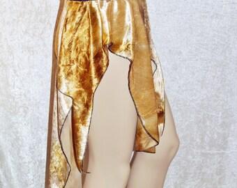 Tie Dye Gold Asymmetrical Skirt Extreme Handmade
