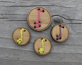 """Music Note Buttons Bamboo 3/4"""", 1"""""""